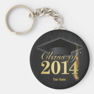 Elegant Black and Gold Class of 2014 Graduation Basic Round Button Key Ring