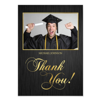 Elegant black and gold Class of 2014 Thank You 13 Cm X 18 Cm Invitation Card