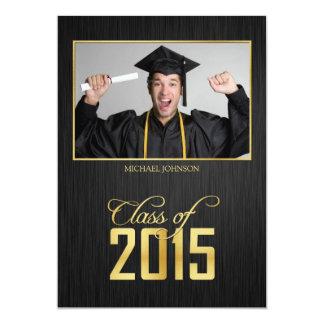 Elegant black and gold Class of 2015 Graduation 13 Cm X 18 Cm Invitation Card