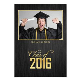 Elegant black and gold Class of 2016 Graduation 13 Cm X 18 Cm Invitation Card