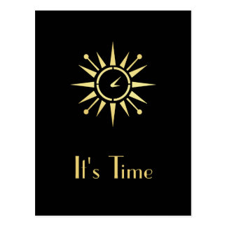 Elegant Black and Gold Clock Appointment Reminder Postcard