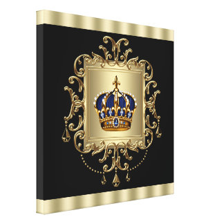 Elegant Black and Gold Crown Canvas Wall Art Print Canvas Print