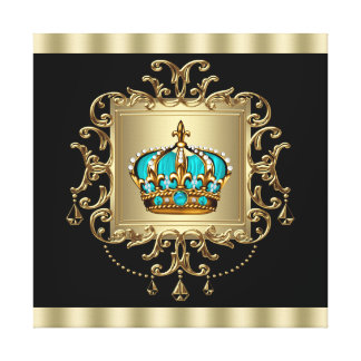 Elegant Black and Gold Crown Canvas Wall Art Print Gallery Wrapped Canvas