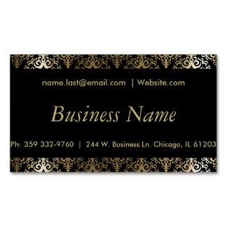 Elegant Black and Gold Damask Magnetic Business Cards