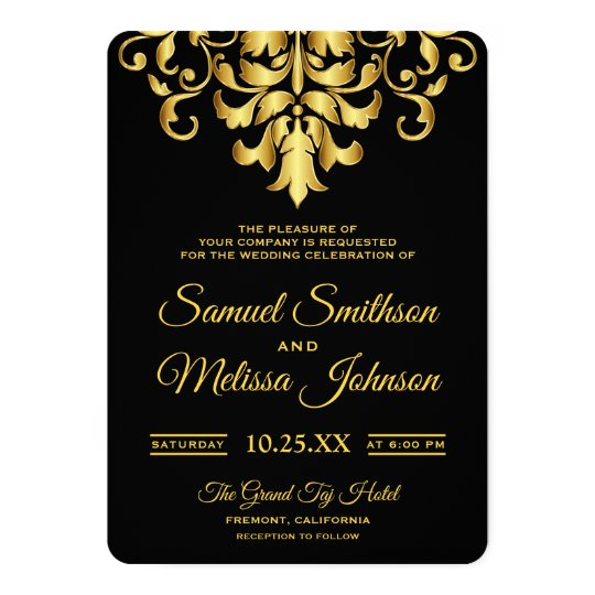 Elegant Black and Gold Damask Wedding Invitation
