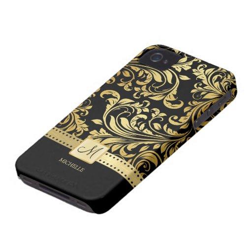 Elegant Black and Gold Damask wiht Monogram Blackberry Bold Case