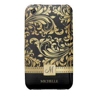 Elegant Black and Gold Damask wiht Monogram iPhone 3 Case-Mate Cases