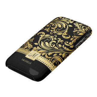 Elegant Black and Gold Damask wiht Monogram iPhone 3 Cover