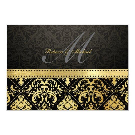 Elegant Black and Gold Damask with Monogram RSVP Card