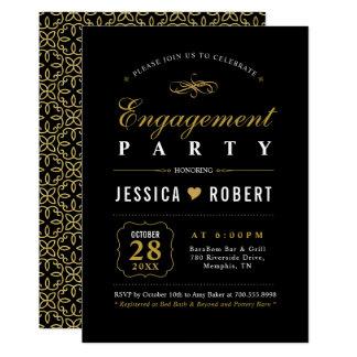 Elegant Black and Gold Engagement Party Invitation