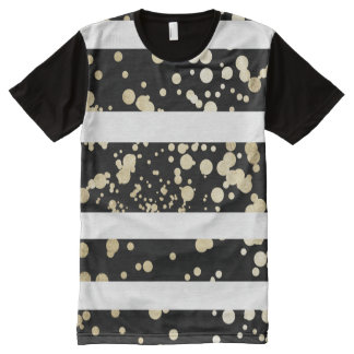 Elegant black and gold faux foil confetti stripes All-Over print T-Shirt