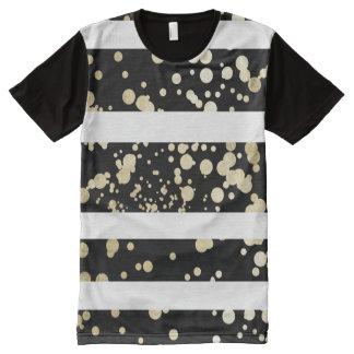Elegant black and gold faux foil confetti stripes All-Over print T-Shirt