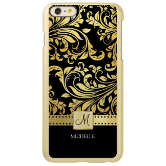 Elegant black and gold floral damask with monogram
