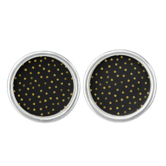 Elegant Black And Gold Foil Confetti Dots Cufflinks