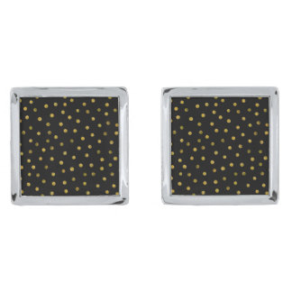 Elegant Black And Gold Foil Confetti Dots Silver Finish Cuff Links
