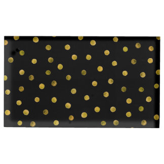 Elegant Black And Gold Foil Confetti Dots Table Card Holders