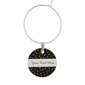 Elegant Black And Gold Foil Confetti Dots Wine Charm