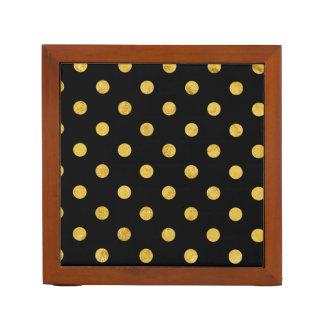 Elegant Black And Gold Foil Polka Dot Pattern Desk Organiser