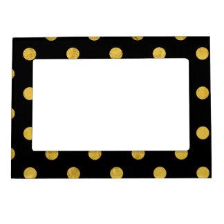 Elegant Black And Gold Foil Polka Dot Pattern Magnetic Picture Frame