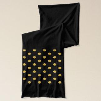 Elegant Black And Gold Foil Polka Dot Pattern Scarf