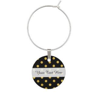Elegant Black And Gold Foil Polka Dot Pattern Wine Charm