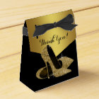 Elegant Black and Gold Glitter High Heel Shoe Favour Box