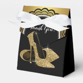 Elegant Black and Gold Glitter High Heel Shoe Favour Box
