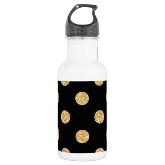 Elegant Black And Gold Glitter Polka Dots Pattern 532 Ml Water Bottle