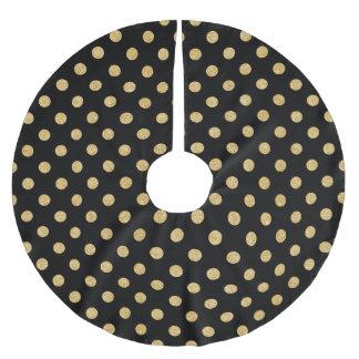 Elegant Black And Gold Glitter Polka Dots Pattern Brushed Polyester Tree Skirt