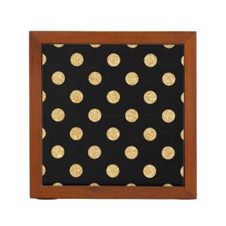 Elegant Black And Gold Glitter Polka Dots Pattern Desk Organiser