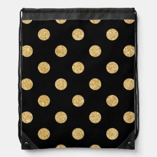 Elegant Black And Gold Glitter Polka Dots Pattern Drawstring Bag