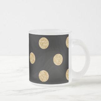 Elegant Black And Gold Glitter Polka Dots Pattern Frosted Glass Coffee Mug