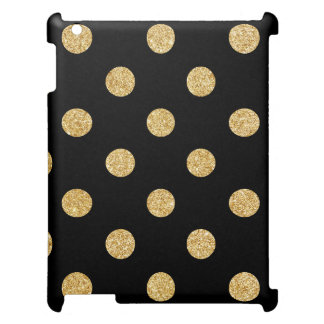 Elegant Black And Gold Glitter Polka Dots Pattern iPad Case