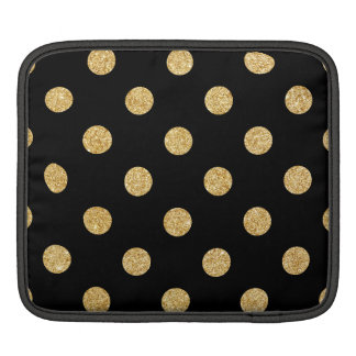 Elegant Black And Gold Glitter Polka Dots Pattern iPad Sleeve