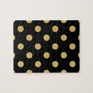 Elegant Black And Gold Glitter Polka Dots Pattern Jigsaw Puzzle