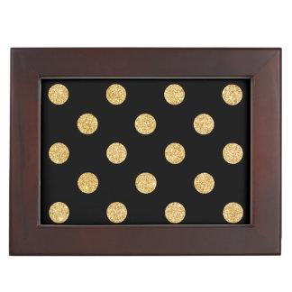 Elegant Black And Gold Glitter Polka Dots Pattern Keepsake Boxes