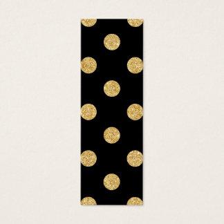 Elegant Black And Gold Glitter Polka Dots Pattern Mini Business Card