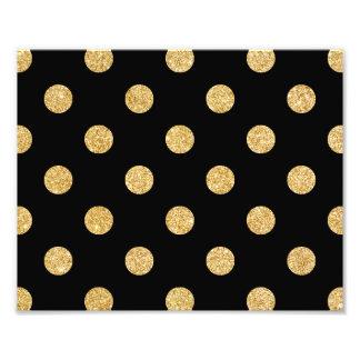 Elegant Black And Gold Glitter Polka Dots Pattern Photo Print