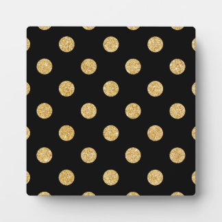 Elegant Black And Gold Glitter Polka Dots Pattern Plaque