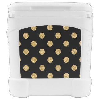 Elegant Black And Gold Glitter Polka Dots Pattern Rolling Cooler