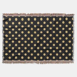 Elegant Black And Gold Glitter Polka Dots Pattern Throw Blanket