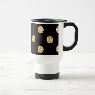 Elegant Black And Gold Glitter Polka Dots Pattern Travel Mug