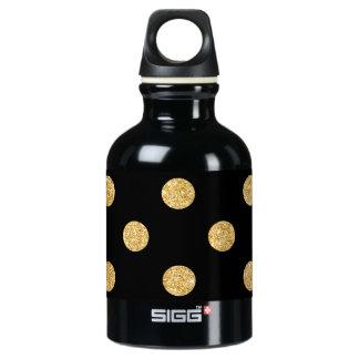 Elegant Black And Gold Glitter Polka Dots Pattern Water Bottle