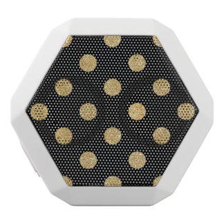 Elegant Black And Gold Glitter Polka Dots Pattern White Bluetooth Speaker