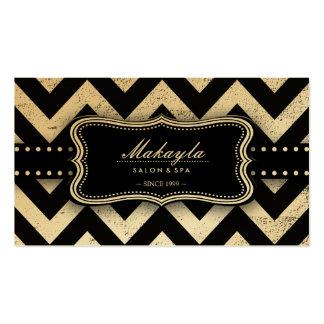 Elegant Black and Gold Grunge Chevron Pattern Pack Of Standard Business Cards