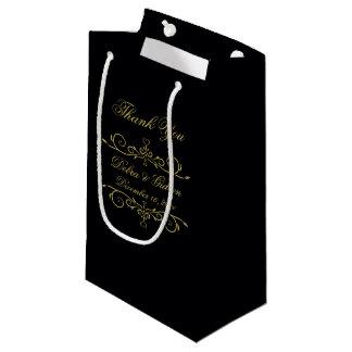 Elegant Black and Gold Heart Flourish Thank You Small Gift Bag