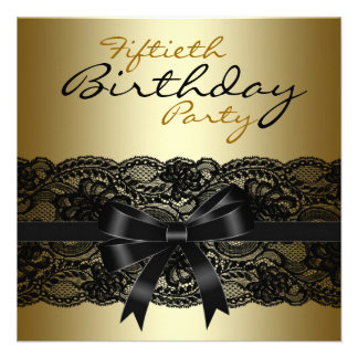 Elegant Black and Gold Lace Birthday Party Invitation