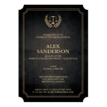 Elegant Black and Gold Law School Graduation 13 Cm X 18 Cm Invitation Card