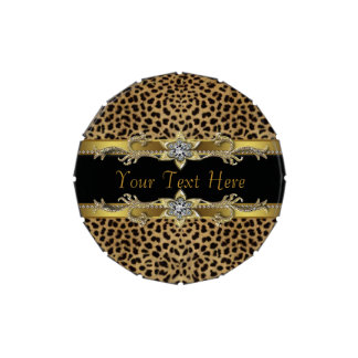 Elegant Black and Gold Leopard Corporate Candy Jelly Belly Candy Tin