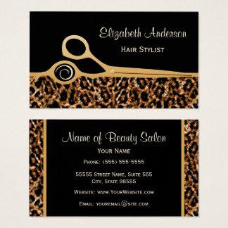 Elegant Black and Gold Leopard Hair Salon Business Card